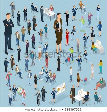 Students and business people isometric 3D illustration set. Stock photo © RAStudio