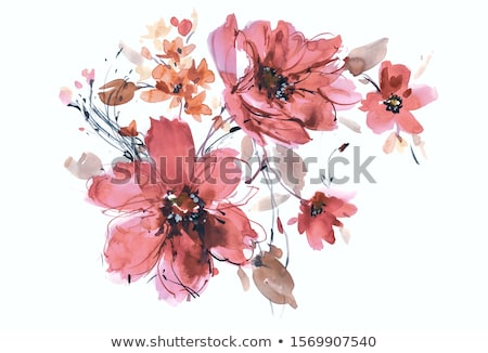 flowers hand drawing collection green flowers and plants stock photo © margolana