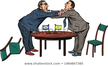 Diplomatie onderhandelingen strijd pop art retro Stockfoto © studiostoks