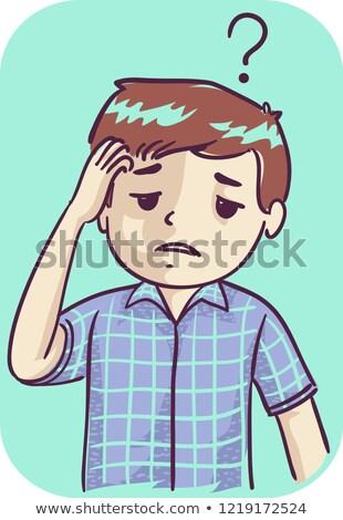 rajz · szegény · árva · fiú · férfi · beszél - stock fotó © lenm