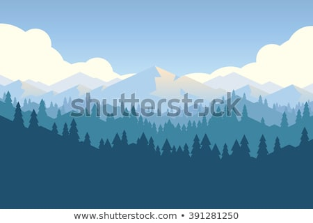 Peak Of Rocky Mountain Landscape Color Vector Stock photo © pikepicture