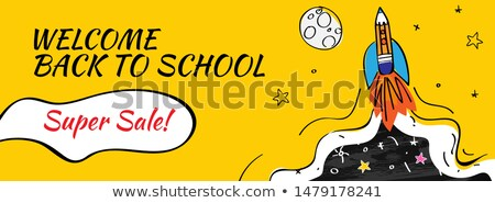 Back to school Sale with rocket and doodles horizontal background. Vector illustration for banners i Stock photo © ikopylov