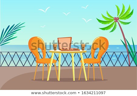 Tropical Pizzeria Table at Balcony with Sea View Stock photo © robuart