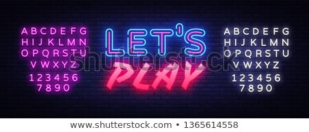Colorful Neon Let's Play Sign with Game Controller Stock photo © Voysla