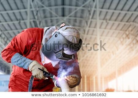 Trabalhador soldagem oficina industrial soldador cara Foto stock © lichtmeister