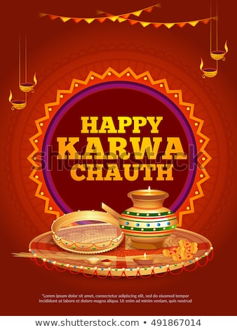 happy karwa chauth greeting with kalash and diya decoration Stock photo © SArts