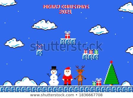 Noel baba ren geyiği neşeli Noel piksel sanat Stok fotoğraf © Krisdog