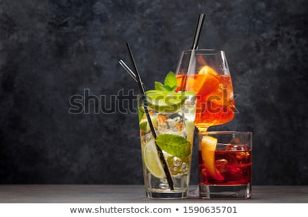 alkoholu · koktajl · kolekcja · pomarańczowy · plasterka · odizolowany · biały - zdjęcia stock © karandaev