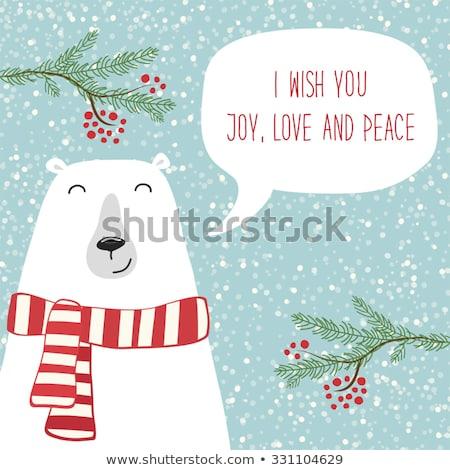 retro Christmas card with polar bears  and presents Stock photo © balasoiu