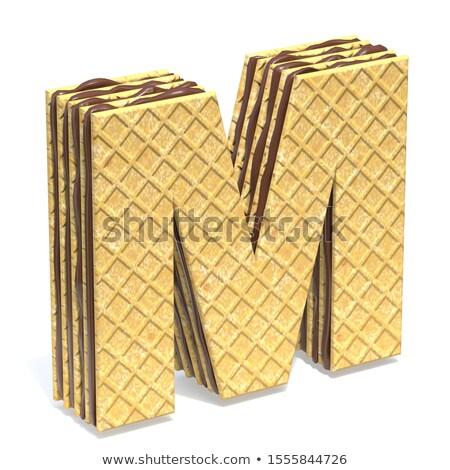 Fonte chocolate creme enchimento letra m 3D Foto stock © djmilic