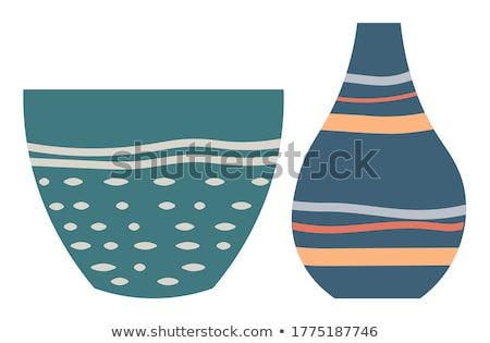 Green Striped Vase Isolated on White Vector Image Stock photo © robuart