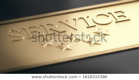 Trust Concept, Premium Service. Five Stars Over Golden Backgroun Stock photo © olivier_le_moal