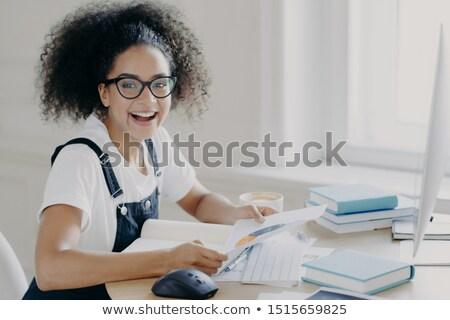 Lövés boldog jómódú női vállalkozó papír Stock fotó © vkstudio