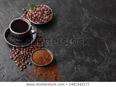 Beker vers ruw organisch koffiebonen grond Stockfoto © DenisMArt