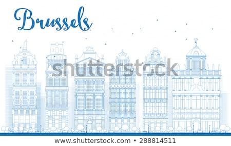 Brüsszel sziluett díszes épületek hely égbolt Stock fotó © ShustrikS