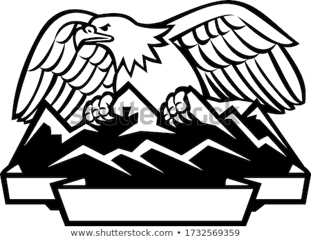 Eagle Perching Mountain Range Crest Mascot Stock photo © patrimonio