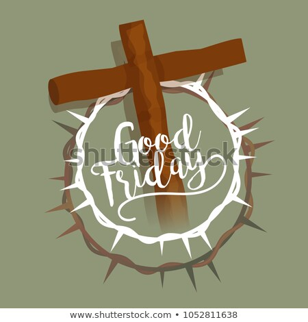 crown of thorns with cross good friday background Stock photo © SArts