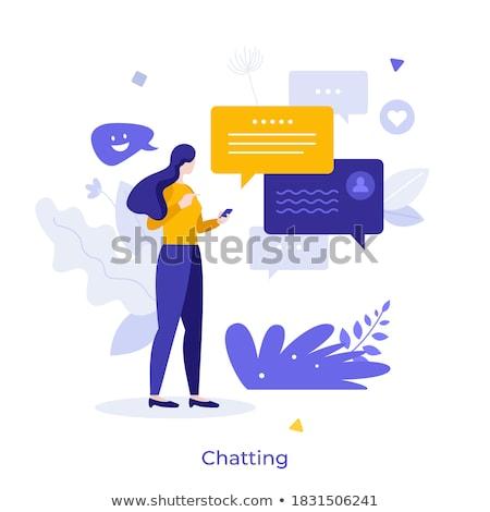 женщины послать сообщение смартфон вектора Сток-фото © robuart