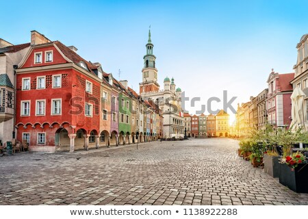 Colorful small houses at the market square  Stock photo © elxeneize