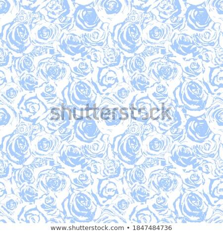 Fényes kék fehér virágminta virág végtelen minta Stock fotó © evgeny89
