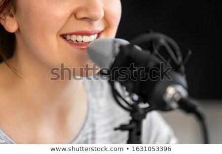 Blogger micro audio blogging technologie Photo stock © dolgachov