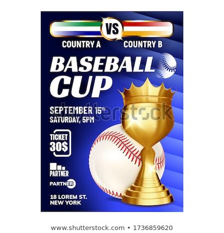 Beisebol campeão mundo copo bandeira vetor Foto stock © pikepicture