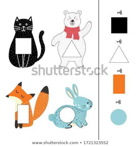 matching shapes game with cats color book page Stock photo © izakowski