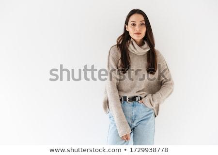 Image of seductive asian woman posing and looking at camera Stock photo © deandrobot