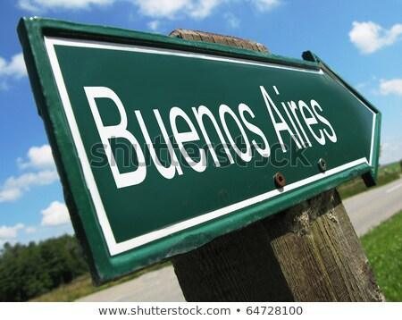 Buenos Aires jelzőtábla zöld autópálya tábla felhő utca Stock fotó © kbuntu