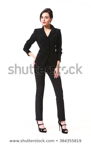 Dwa atrakcyjny młodych kobiet czarna sukienka portret patrząc Zdjęcia stock © filipw
