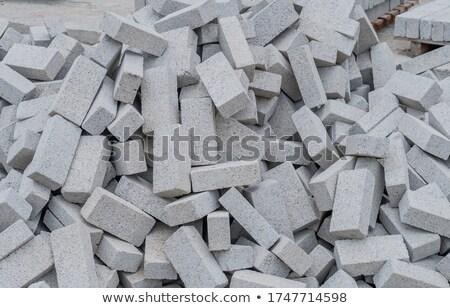 Stockfoto: Pile Stack Of New Gray Bricks