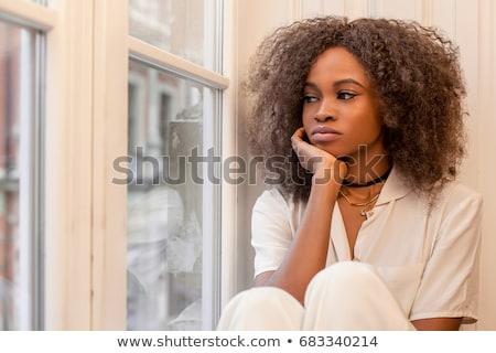 Belo mulher negra triste veja isolado branco Foto stock © alexandrenunes