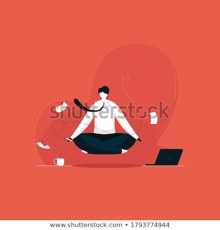 meditál · üzletember · férfi · igazgató · testmozgás · jóga - stock fotó © Paha_L
