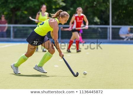 Vrouw hockey mooie jonge vrouw speler meisje Stockfoto © piedmontphoto