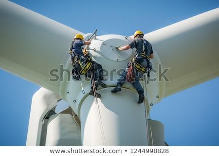 Rüzgar türbini dağ gökyüzü teknoloji yeşil mavi Stok fotoğraf © mariephoto