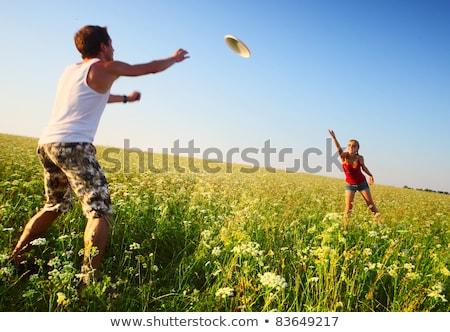 Gülen genç çiftler açık gökyüzü kadın gülümseme Stok fotoğraf © get4net