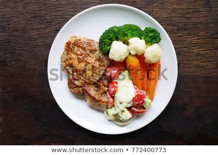 Carne de porco legumes prato isolado branco Foto stock © zybr78