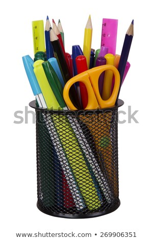 Markers for white board in basket isolated on a white background stock photo © HASLOO