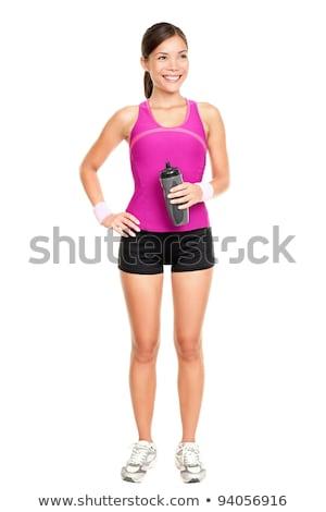 Foto d'archivio: Asian · fitness · donna · modello · piedi · palestra