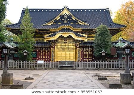 Buddhista templom ajtó fából készült Thaiföld terv Stock fotó © smithore