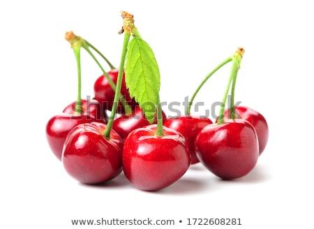 édes · cseresznye · friss · piros · tál · fa · asztal - stock fotó © m-studio
