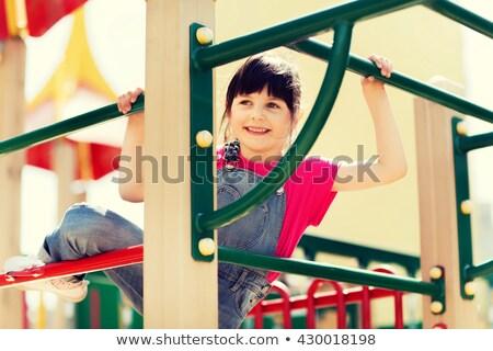 Nina escalada marco feliz puente retrato Foto stock © photography33