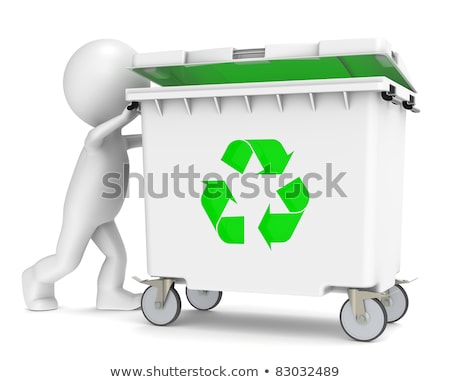 Stock fotó: 3d Little Human Character Pushing A Recycling Bin