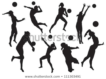 Stok fotoğraf: Voleybol · siluetleri · ayarlamak · mutlu · spor · vücut