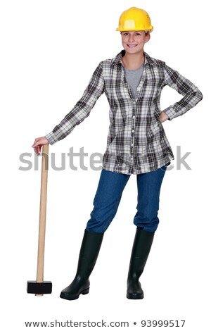 Happy woman stood with sledge-hammer Stock photo © photography33