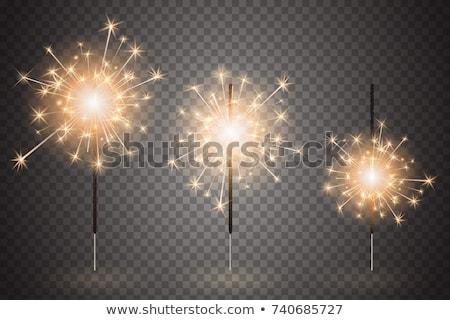 Vuurwerk sterretje vuurwerk douche brandend deeltjes Stockfoto © Kenneth_Keifer