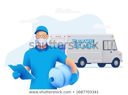 eau · livraison · main · camion · au-dessus - photo stock © lisafx