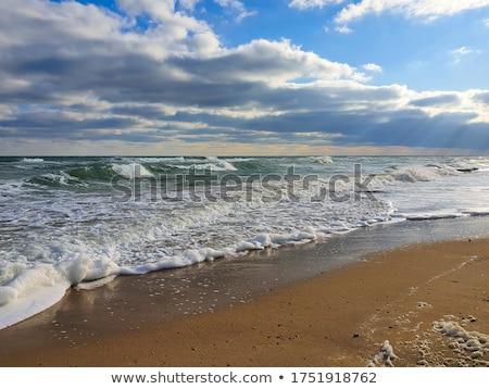 Szeles tengerpart szél fúj felhőtlen égbolt Stock fotó © antonprado