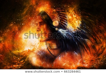 Native American man in headdress Stock photo © mikemcd