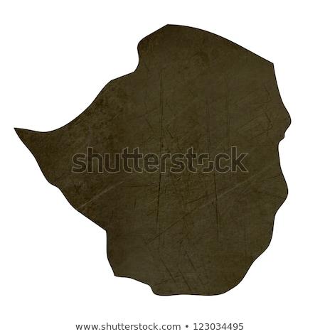 Donkere kaart Zimbabwe geïsoleerd witte Stockfoto © speedfighter
